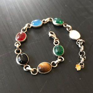 Jewelry - Vintage Sterling Silver Scarab Gemstone Bracelet